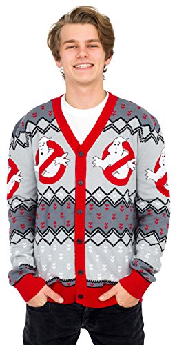 80s Ghostbusters Logo Ugly Christmas Cardigan for Men