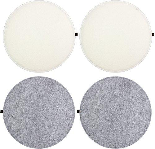 Luxflair Sitzkissen 4er Set Filz rund 35cm, 2-farbig: Graumeliert/cremeweiß, zum Wenden. Gepolstert, bei 30°C waschbar. Sitzpolster für Stühle, Bänke