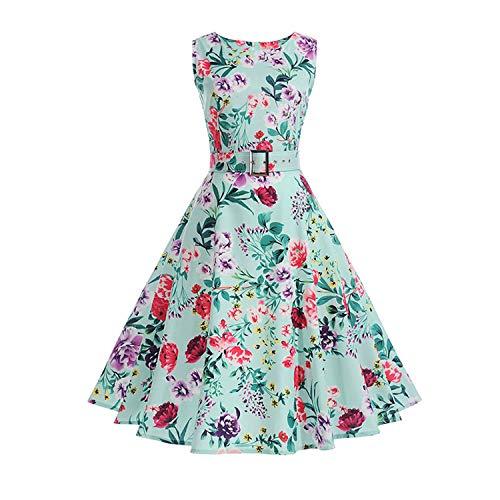 Vestidos - Vestido vintage de verano con estampado floral, sin mangas, vestido de fiesta de los años 50 y 60 S, elegante Rockabilly Sexy vestido con cinturón