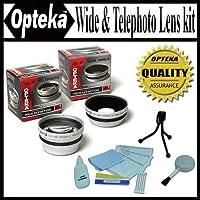 Opteka 0.45X Wide Angle & 2.2X望遠hd2ProレンズSet for Fuji FinePix s700デジタルカメラ