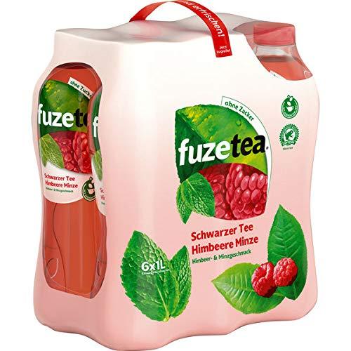 Fuze Tea Schwarzer Tee Himbeer Minzer ohne Zucker inc. EINWEG Pfand (6 x 1000ml)