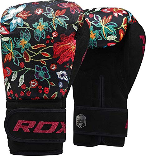 RDX Women Boxing Gloves for Training Muay Thai Flora Skin Ladies Mitts for Sparring, Fighting Kickboxing Good for Punch Bag, Focus Pads and Double End Ball Punching