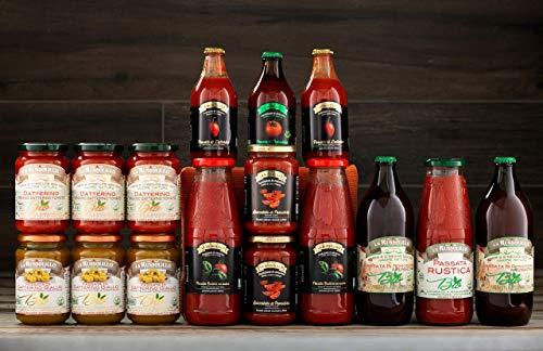 Passata di pomodoro artigianale Mix degustazione X16 - Datterino, pomodoro Giallo, spaccatelle (filetto) sugo e salsa anche bio - Made in italy - La Russolillo