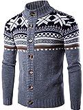 jeansian Inverno Uomo Moda Snowflake X-mas Cappuccio Casuale Maglione Cardigan 88G4 LightGray XS