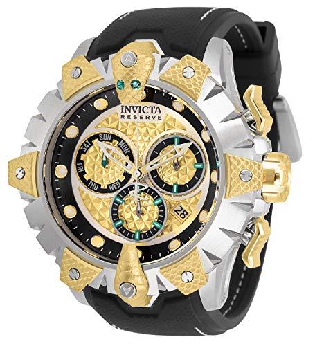 Invicta Reserve Venom Reloj de cuarzo de acero inoxidable con correa de silicona, negro, 26 (Modelo: 32132)
