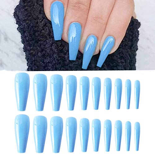 Ballerina Glossy Long Coffin UV Top Coat False Nails,Sky Blue Fake Nail Tips Nails Art Accessories for Party Full Cover Artificial Tips with Glue sticker