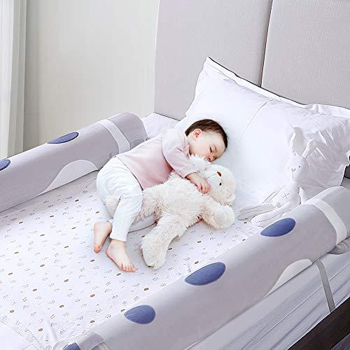 Bettgitter für Kleinkinder, Bettschienen Aufblasbar (2 pcs), Baby-Sicherheits Bettgitter, Cartoon-Stil Kissenschutz für Zuhause & Reisen