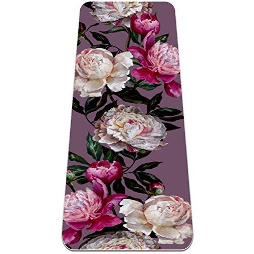 AMEILI Esterilla de yoga plegable de 6 mm de grosor antideslizante para viajes y yoga y fitness (72 x 24 x 6 mm), color morado, blanco y rosa