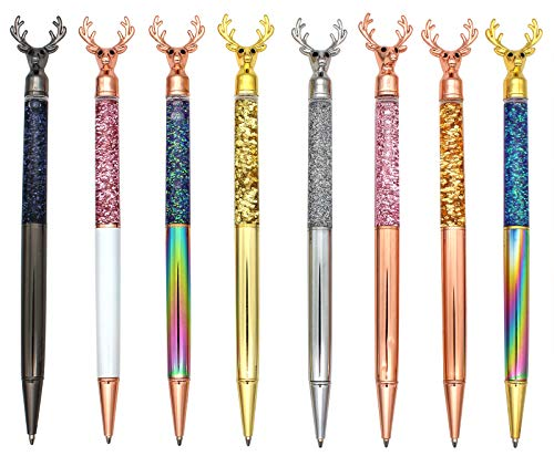 Gullor Retractable Ballpoint Pen, Glitter Floating Metal Pen, Deer Shape, 8 Pens, Set B