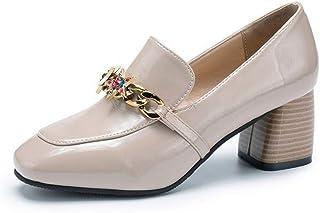 [ドドシューズ] ローファー スクエアトゥパンプス マニッシュ おじ靴 ヒール5cm 5センチ 黒 歩きやすい チャンキーヒール 幅広 痛くない 疲れない ローヒール 太ヒール 結婚式 レディース靴 春 夏 ブラック 大きいサイズ 靴 レディース