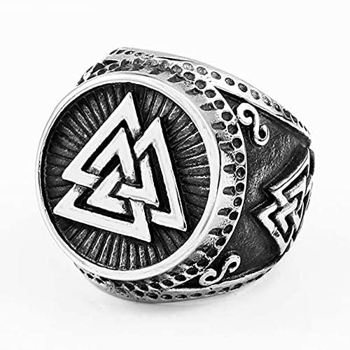 C2Jew Anillo Valknut del Símbolo De Odin Amuleto Escandinavo Nórdico Joyas Vikingas De Acero Inoxidable 316L,9