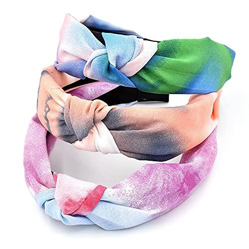 banda para el cabello mujer 3 unids color de tinta banda para el cabello prensa diadema para el cabello tela para mujer hebilla de cabeza anudada accesorios para el cabello