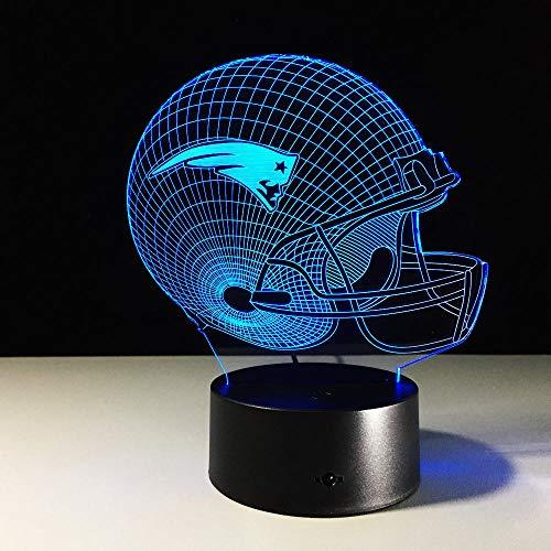 New England Patriots Logo Team Kollektion Design 3D Football Helm Lampe Visuelle Wohnkultur LED Tischlampe Nachtlicht Fernbedienung USB Wiederaufladbare Lesung Schlafen Nacht
