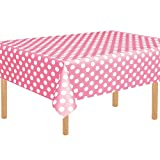 3 Pack Pink Polka Dot Plastic Tablecloth 54'x108' Inch Polka Dot Table Cover for Party Decorations
