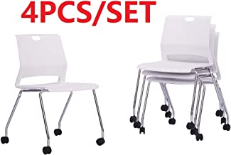 Sidanli Conference Room Chairs with Wheels- White (Set of 4)