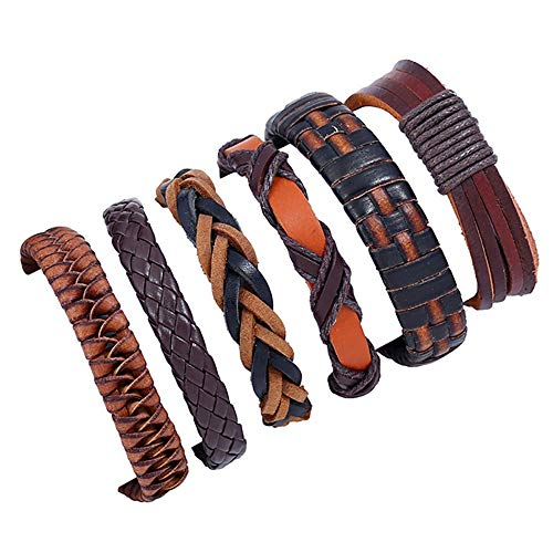 6Pcs Bracelets for Womens Mens Hand-woven Leather Rope Bracelets Personalised Romantic Valentine's Day Present Birthday Christmas Graduation Gifts(One Size,Black)