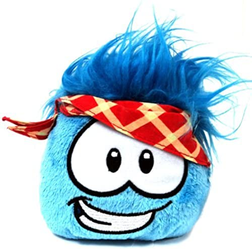 Disney Club Penguin 4 Inch Series 11 Online Exclusive Plush Puffle Blau with PLAID Bandana Includes Coin with Code  by Jakks Pacific