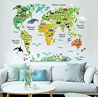 Animal World Map Bedroom Living Room Background Wall Stickers