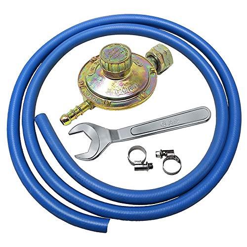 Kit regolatore bassa pressione per cucine stufe e barbecue gas + 2 mt di tubo + 2 fascette e CHIAVE...