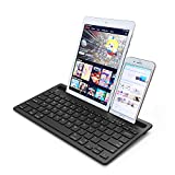 Wireless Bluetooth Multi-Device Keyboard for Phone, Tablet & Computer. Rechargeable, Slim & Compact