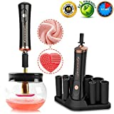 Makeup Brush Cleaner,Electric Makeup Brush Cleaner Machine Cosmetic Brush Cleaner Spinner Portable Professional Brush Cleaner Dryer Brush Cleaning Tool Fast Clean & Dry Makeup Brushes in Secs[Black]