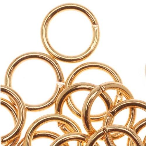 22 K chapado en oro abierto de 7 mm de calibre 18 saltar anillos (50)
