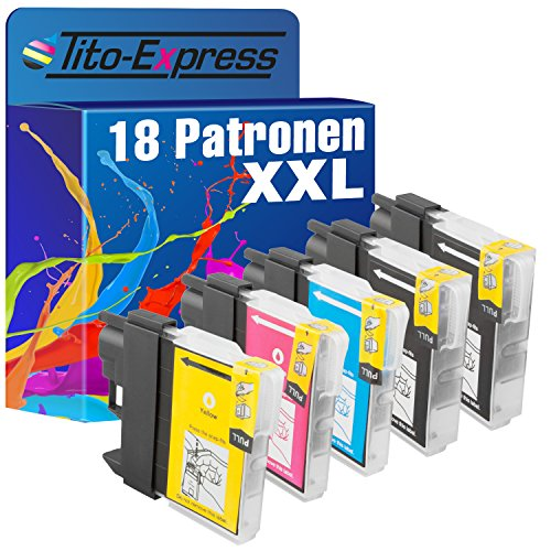 Tito-Express PlatinumSerie 18x Sparset Tintenpatronen XXL kompatibel mit Brother LC1100 | Für DCP 185C 380 Series 383C 385C 387C 395CN 585CW 6690CW DCP-J715W MFC 490CN 490CW 5490CN