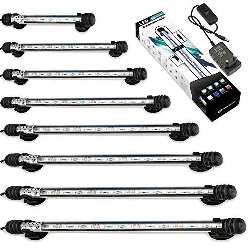 DOCEAN 5050SMD 9LEDs Acuario iluminación LED de lámpara Bombilla Lighting para pez Tank EU Conector Resistente al Agua IP68, 18cm, Blanco