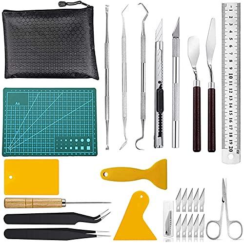 FUFRE Juego de herramientas para manualidades de vinilo, 27 piezas, de acero inoxidable, para silueta, HTV, cameos, rotulación