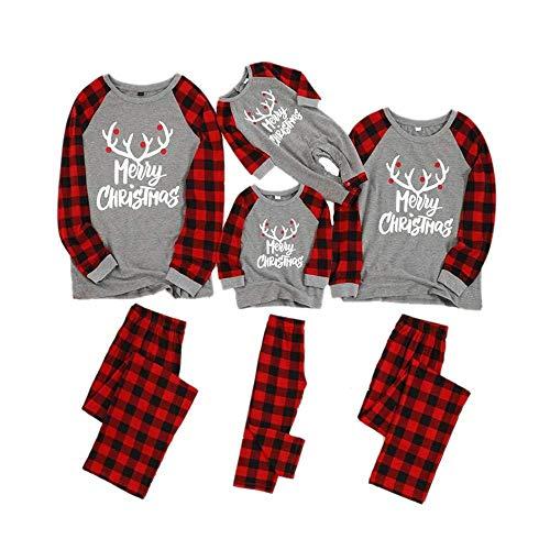 Tasty Life Famille De Pyjamas De Noël, Pyjamas De Pyjamas pour Hommes Et Femmes en élan, Pyjamas De Noël à Manches Longues pour Enfants Et Pantalons à Carreaux Rouges.(Mom-M,Red)