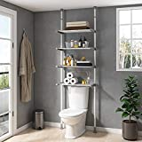 ALLZONE Bathroom Storage Cabinet, Over The Toilet Shelf Organizer, 4-Tier Adjustable Shelves, Small, Saver Space, 92 to 116 Inch Height, White/Gray