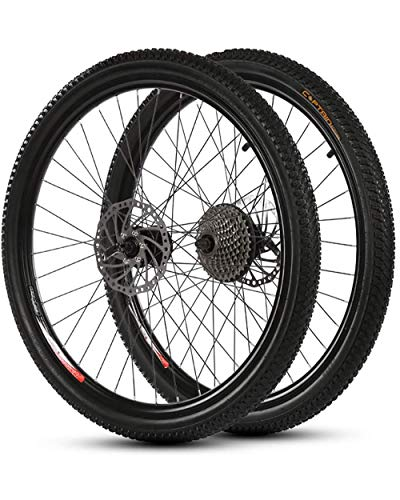 26 Inch 21 Speed Mountain Bicycle Wheelset 700C Aluminum Alloy Double Wall Cycling Rim American Valve Disc Brake 36 Hole Quick Release Hubs Tires Wheelset