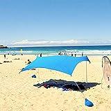 Chengstore 3-4 Persone Family Beach Parasole, tendalino Parasole, tendalino Parasole, ombrellone Cabina Spiaggia/Spiaggia con 4 Ancore di Sabbia, 4 Bastoncini in Alluminio e Borsa da Viaggio, UPF 50+