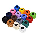 SUPVOX 16 colores de hilo de bordar hilo de punto de cruz pulseras de amistad hilo de seda de seda para manualidades (color sólido)