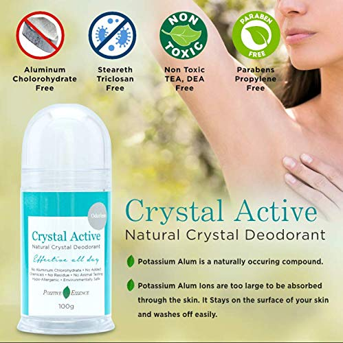 Thai Crystal Deodorant Stone, Crystal Active, 100% Natural, Long Lasting, Single Ingredient, No Aluminum Chlorohydrate or Chemicals, Unscented, Pushup Stick, Underarmed Deodorant for Women & Men