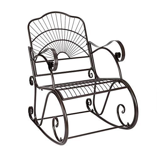 JYXJJKK gartenmöbel stabil tragbarer gartenstuhl sonnenliege sonnenliege terrasse schaukelstuhl lackierpinsel gold outdoor garten einzelner eisen schaukelstuhl schwarz