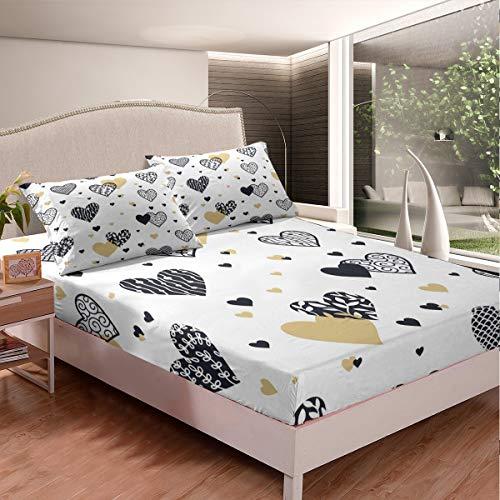 Juego de sábanas para niñas con diseño de corazón y corazón, para niños y mujeres, con una funda de almohada de tamaño individual