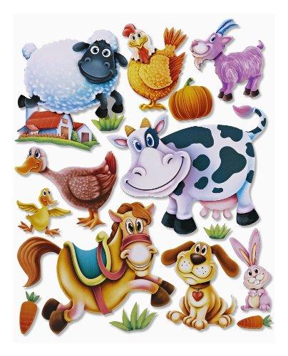 Stickerkoenig Wandtattoo 3D Sticker Wandsticker Kinderzimmer - niedliche Tiere auf dem Bauernhof - Deko auch für Fenster, Schränke, Türen etc auf Bogen