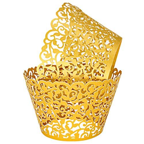 KEIVA Pack of 100 Vine Cupcake Holders Filigree Artistic Bake Cake Paper Cups Vine Designed Decor Wrapper Wraps Cupcake Muffin Paper Holders for Wedding Party Birthday Decoration (100, Gold)