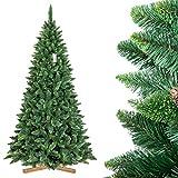 FairyTrees Árbol de Navidad Artificial Pino, Natural Verde, Material PVC, Las piñas verdaderas, el Soporte de Madera, 250cm, FT03-250