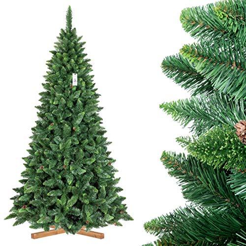FairyTrees Arbre Sapin Artificiel de Noêl Pin, Naturel Vert, Matière PVC, Pommes de Pin Vraies, Socle en Bois, 250cm, FT03-250