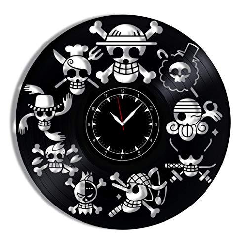 "One Piece Jolly Roger Vinyl Record Clock 12"" - Wall Clock One Piece Jolly Roger - Best Gift for One Piece Jolly Roger Lovers - Original Wall Home Decoration"