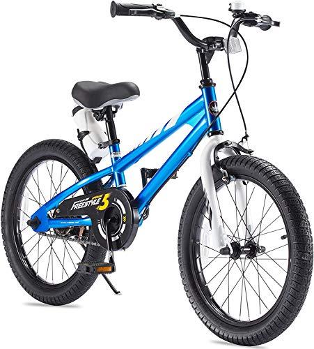 RoyalBaby Boys Girls Kids Bike 18 Inch BMX Freestyle 2 Hand Brakes Bicycles with Kickstand Child Bicycle Blue