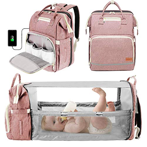 3 in 1 Diaper Bag Backpack with Bassinet Bed Mat Pad Portable Travel Convertible Bags Newborn Registry Baby Shower Gifts Essentials Accessories Stuff for Girls Boys Men Dad Mom Pink