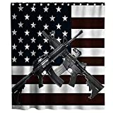 Lifeasy USA American Flag and Gun Patriotic Theme Fabric Shower Curtain Sets Boy Bathroom Decor with Hooks Waterproof Washable 70 x 70 inches Black and White Marroon