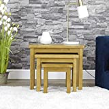 Milan Oak Nest of Tables | 3 Nesting Lounge Tables | Medium Wood Tone