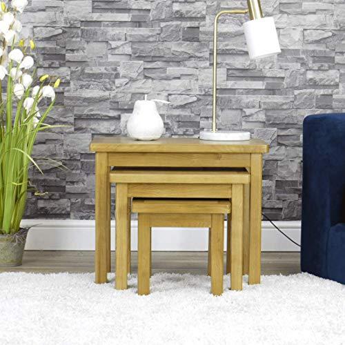 Milan Oak Nest of Tables | 3 Nesting Lounge Tables | Medium Wood Tone