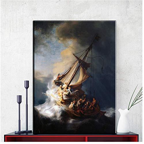 nr Rembrandt schip canvas schilderij HD muur kunstdruk afbeelding voor woonkamer moderne wooncultuur poster druk op canvas 50 x 75 cm frameloos