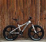 HYCy Mountain Bike per Adulti Fat Tire,Bici Dell'incrociatore del Freno a Doppio Disco,Bicicletta da Motoslitta da Spiaggia,Ruote Integrate in Lega di Magnesio da 26 Pollici