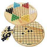 Toys of Wood Oxford TOWO Juego de Damas Chinas y Gobang (Cinco en una Fila) - Juego de Mesa Familiar 2 en 1 - Juegos de Mesa de 6 años y Adultos - Juegos de Madera para Toda la Familia.
